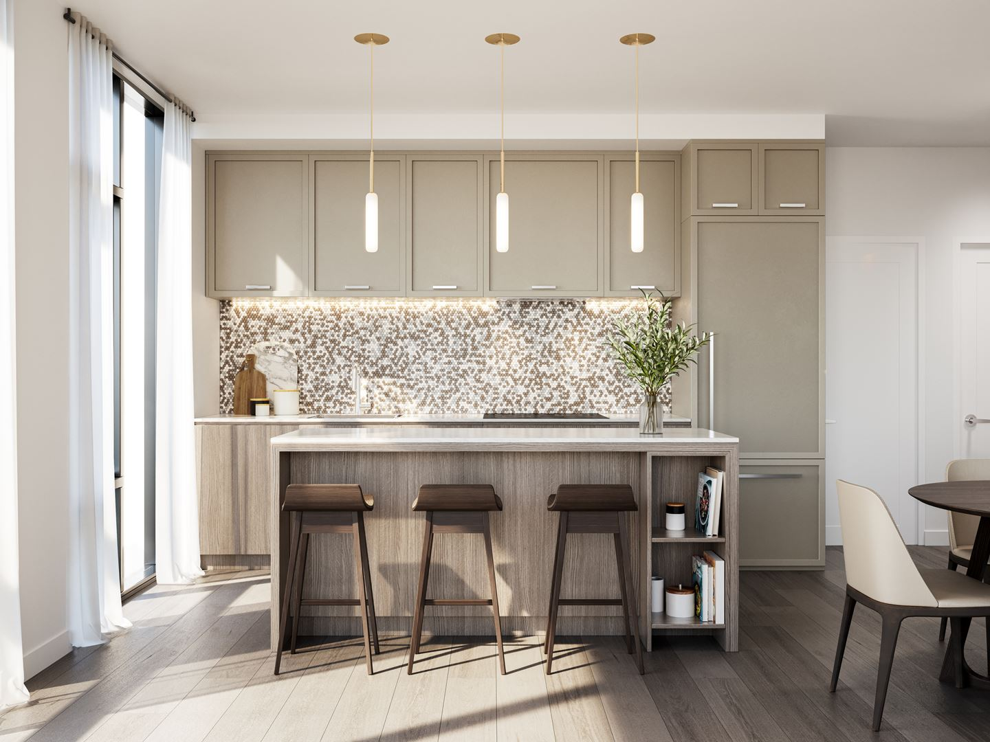 Rendering of 8188 Yonge Condos suite interior kitchen.