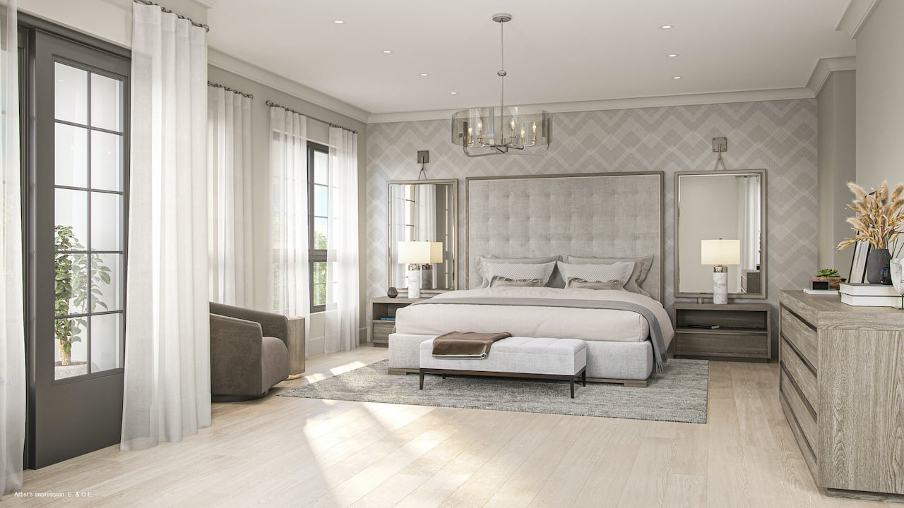 Rendering of Harbour Place Towns bedroom
