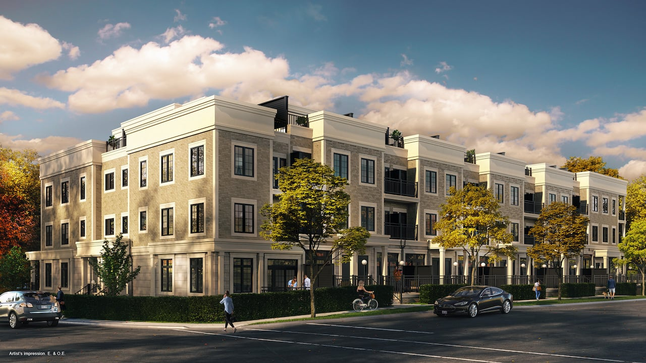 Rendering of Harbour Place Towns exterior street view