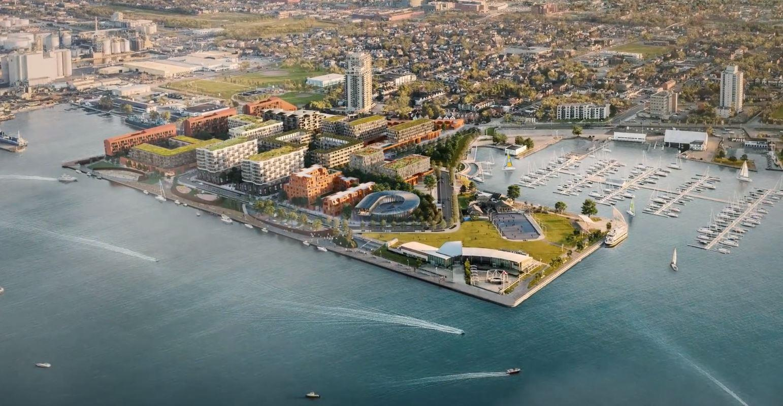 Aerial rendering of Waterfront Shores in Hamilton.