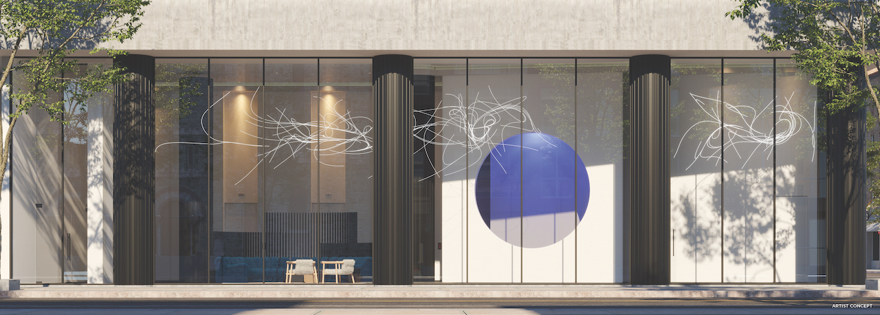 Rendering of Artistry Condos building entrance and lobby from exterior view.