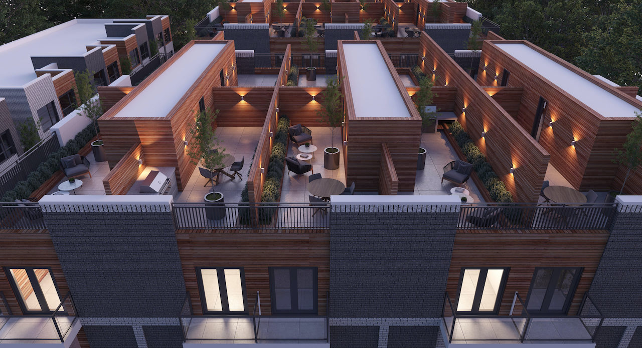 Rendering of Essa Towns private rooftops at night.