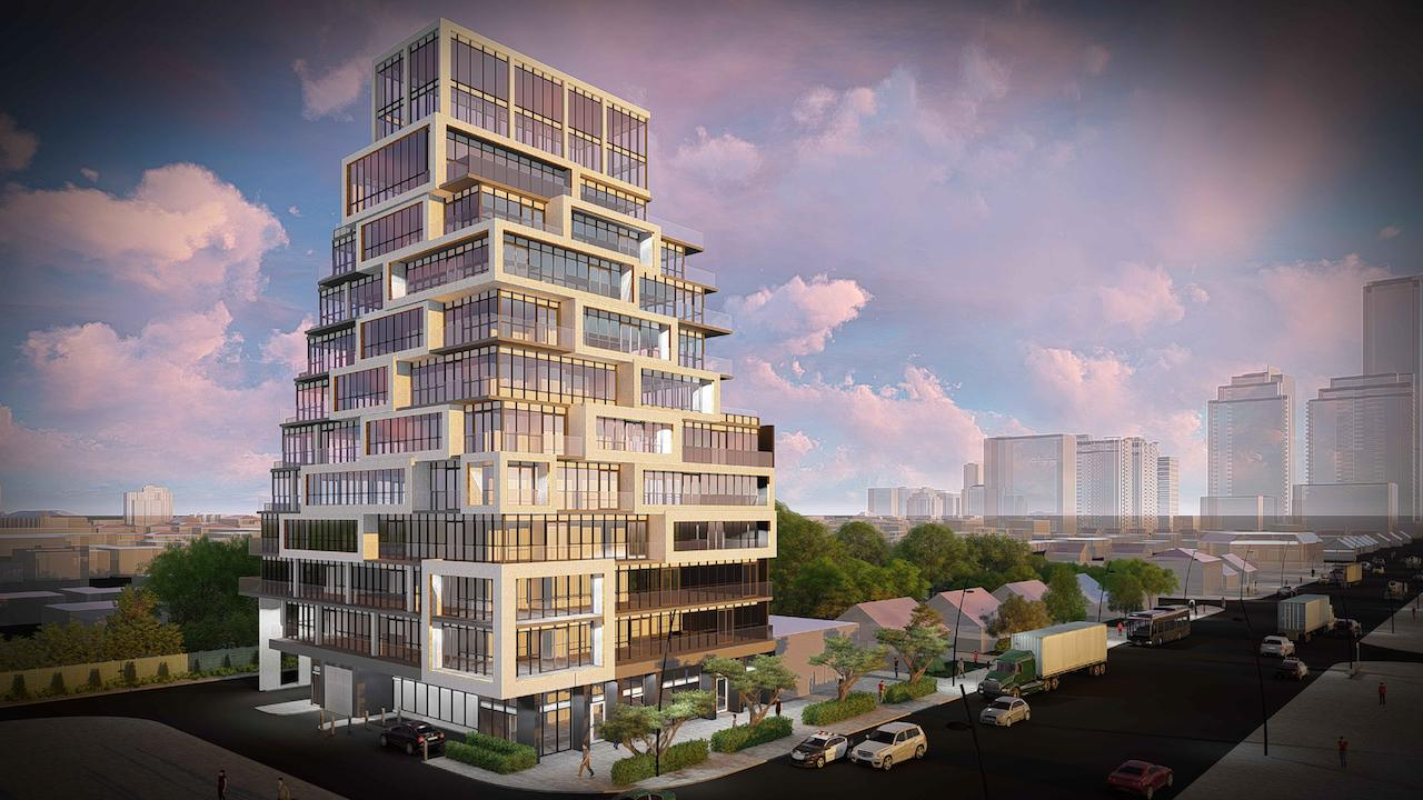 Rendering of 145 Sheppard East Condos full building and surrounding area.