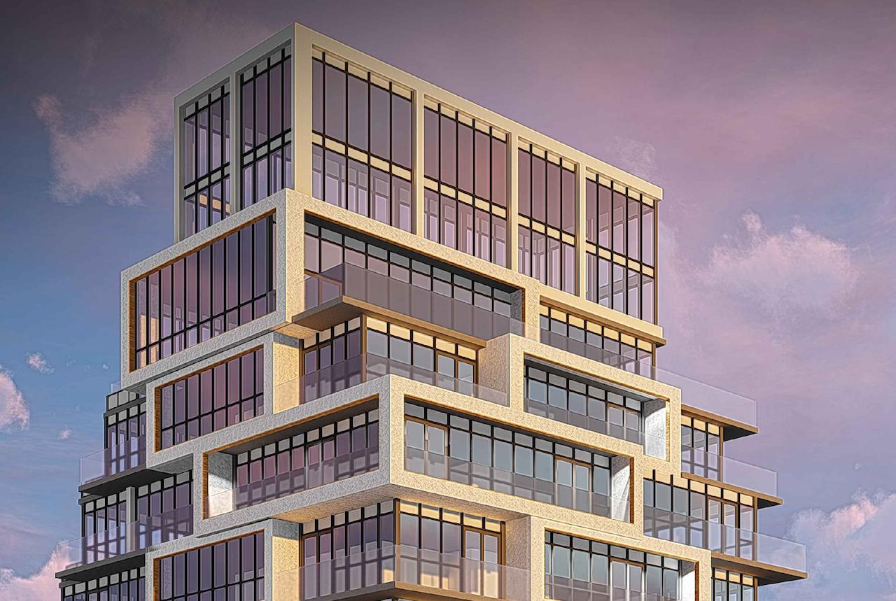 Rendering of 145 Sheppard East Condos building top and skyline.
