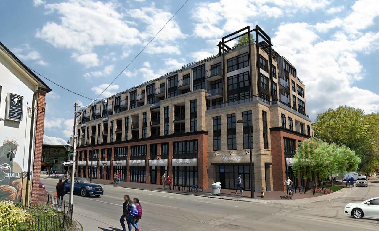 Exterior rendering of Gerrard Street East Condos.