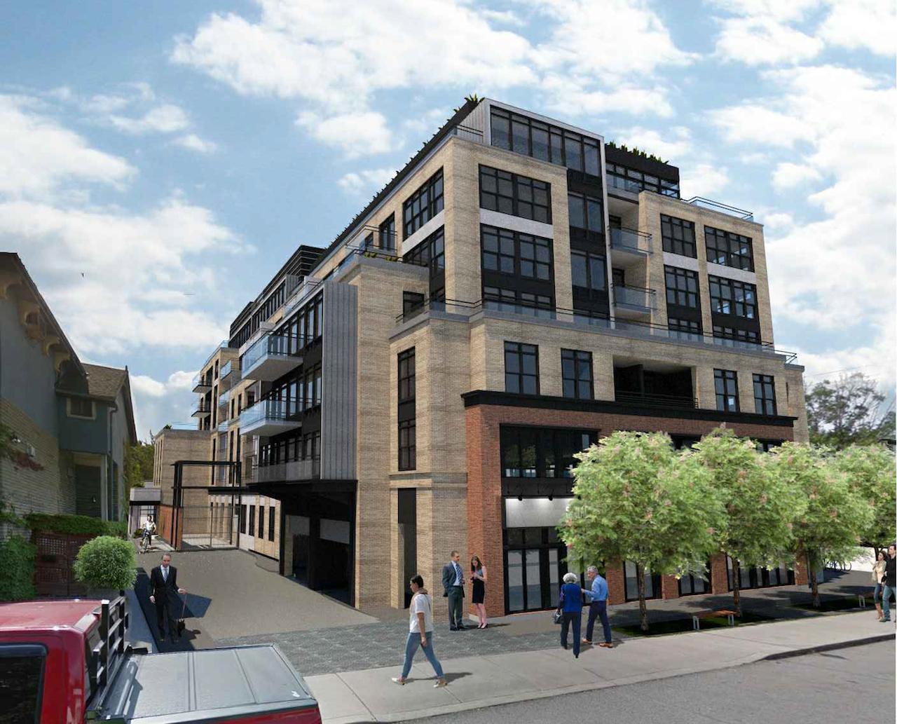 Exterior side-view rendering of Gerrard Street East Condos.