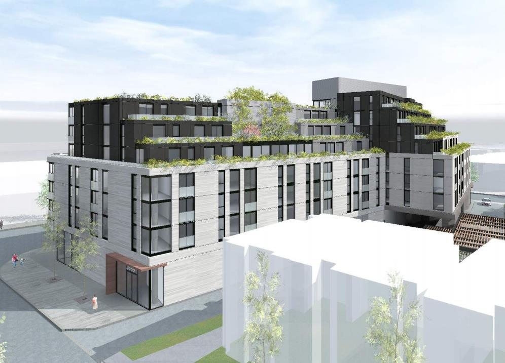 Rendering of 3385 Dundas Street West Condos side view with greenery.