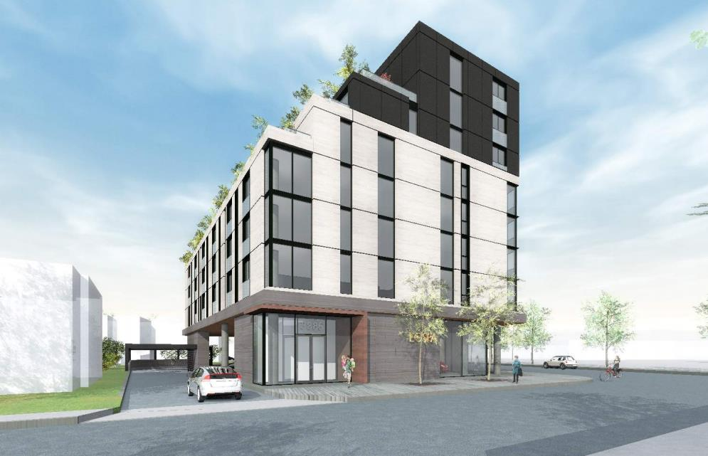 Rendering of 3385 Dundas Street West Condos full side with car entrance.