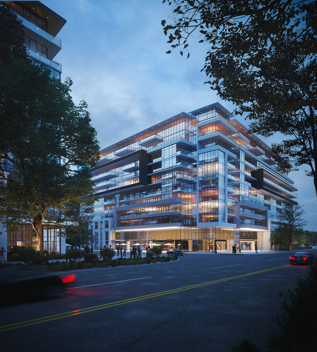 Rendering of Distrikt Trailside 2.0 Condos at night.