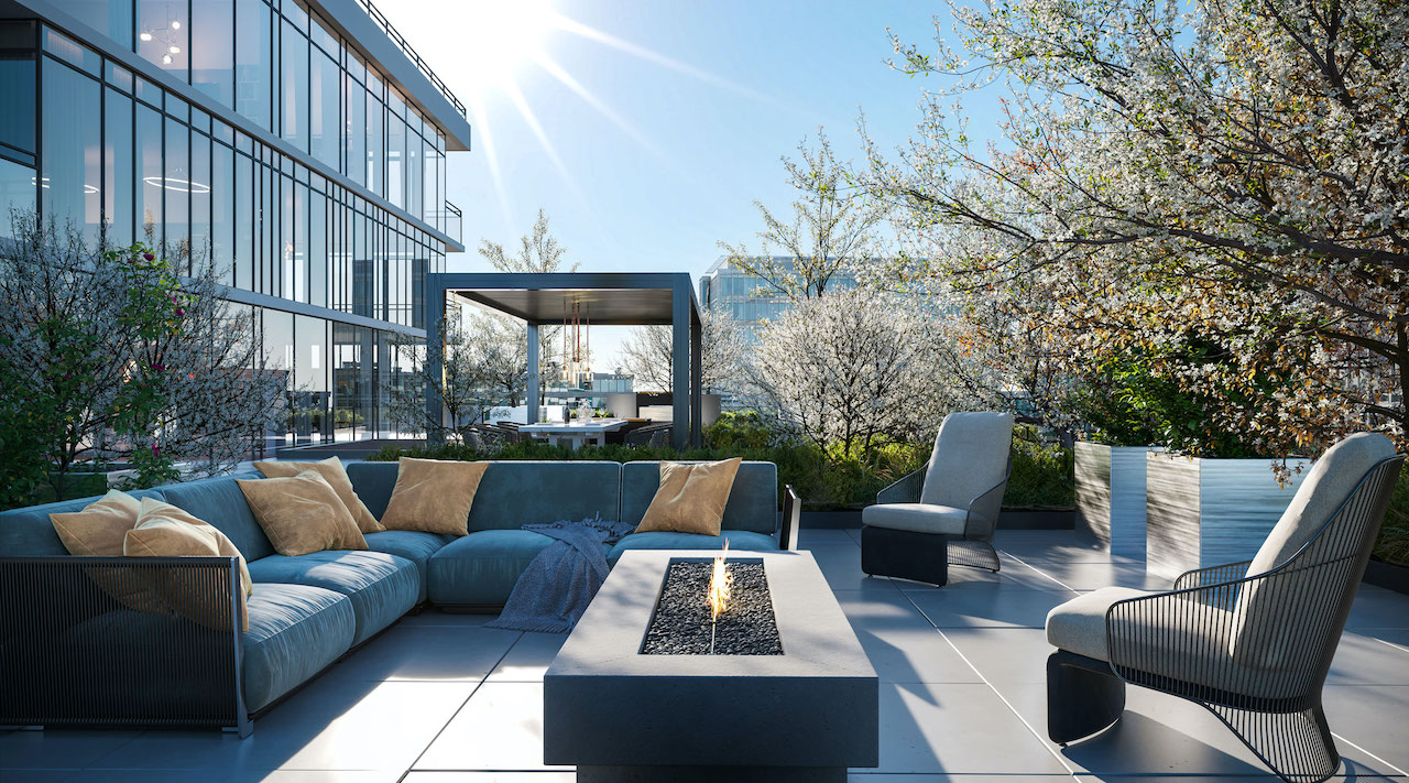 Rendering of Distrikt Trailside 2.0 Condos outdoor terrace.