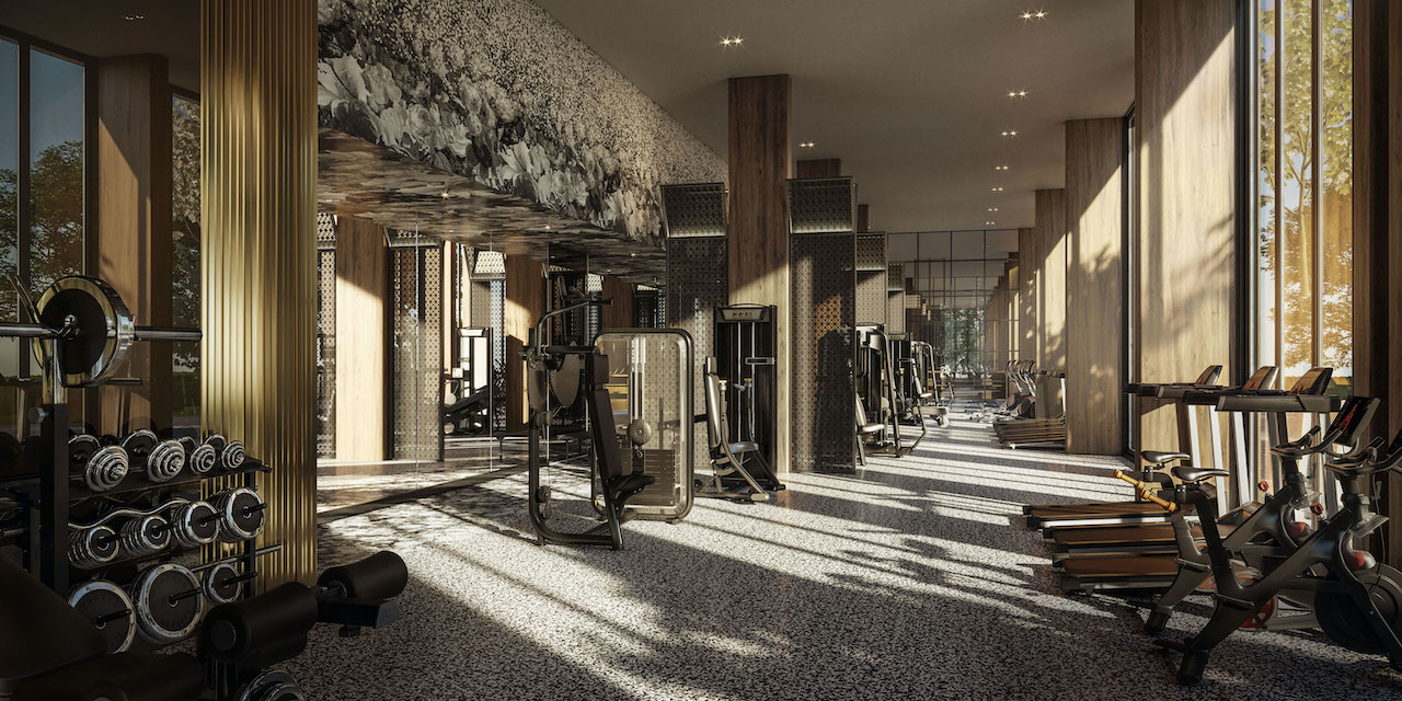Rendering of Distrikt Trailside 2.0 Condos fitness centre.