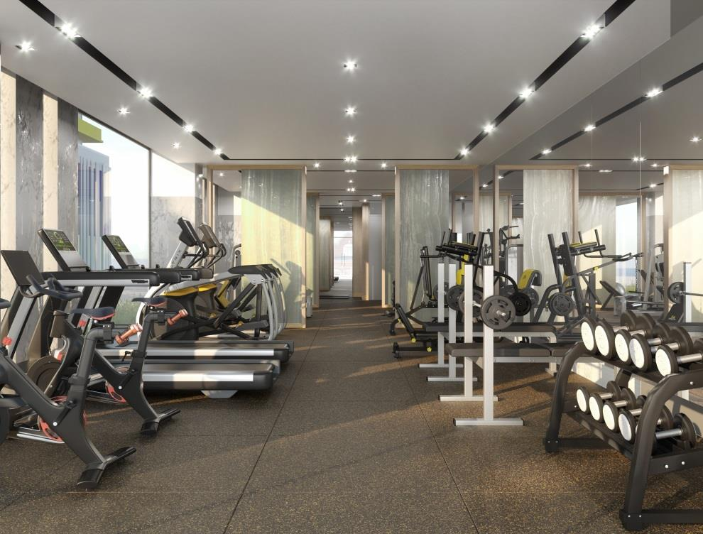 Rendering of MontVert Condos fitness centre.