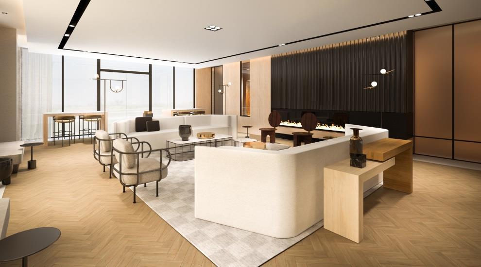 Rendering of MontVert Condos lounge.