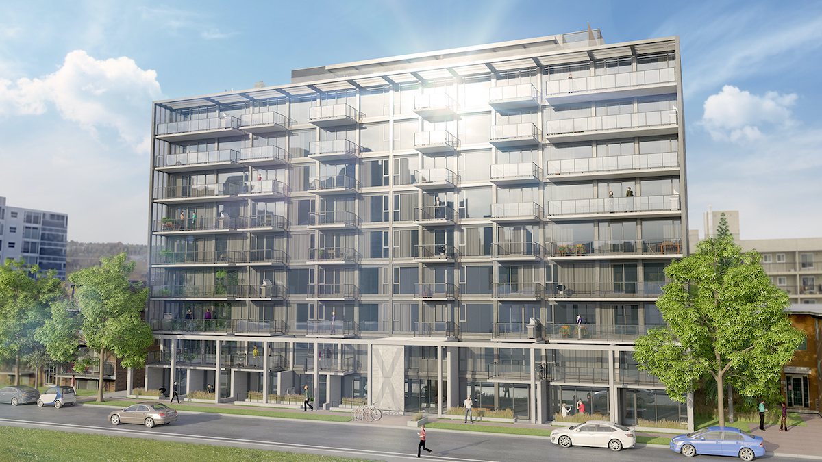 Exterior rendering of The Annex Condos in Calgary.