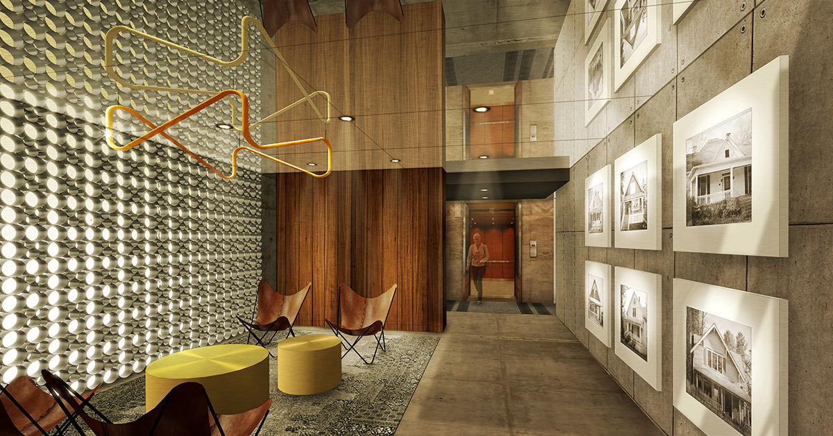 Lobby rendering of The Annex Condos in Calgary.