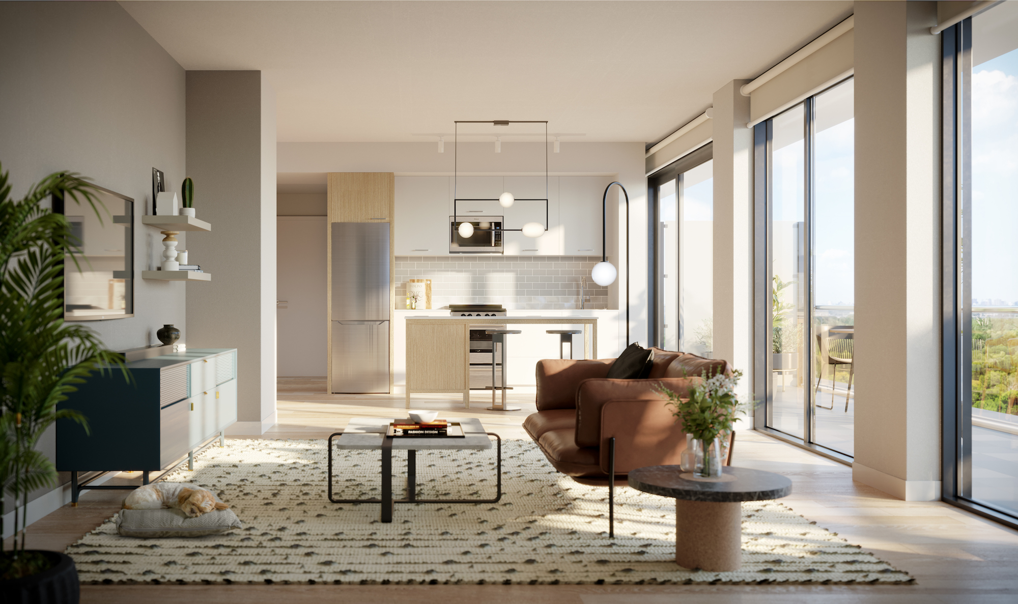 Rendering of The Tailor Queensway Residences suite living room palette 1.