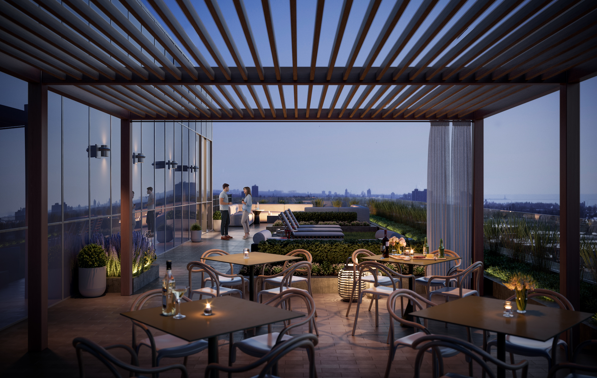 Rendering of The Tailor Queensway Residences outdoor rooftop with seating.