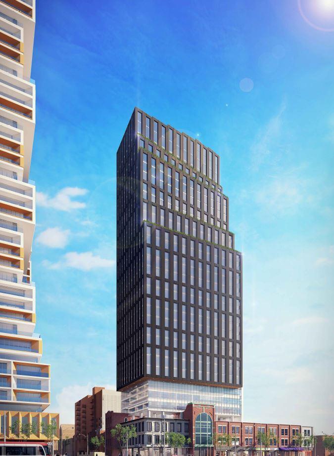 Full exterior rendering of 90 Queen Street East Condos.
