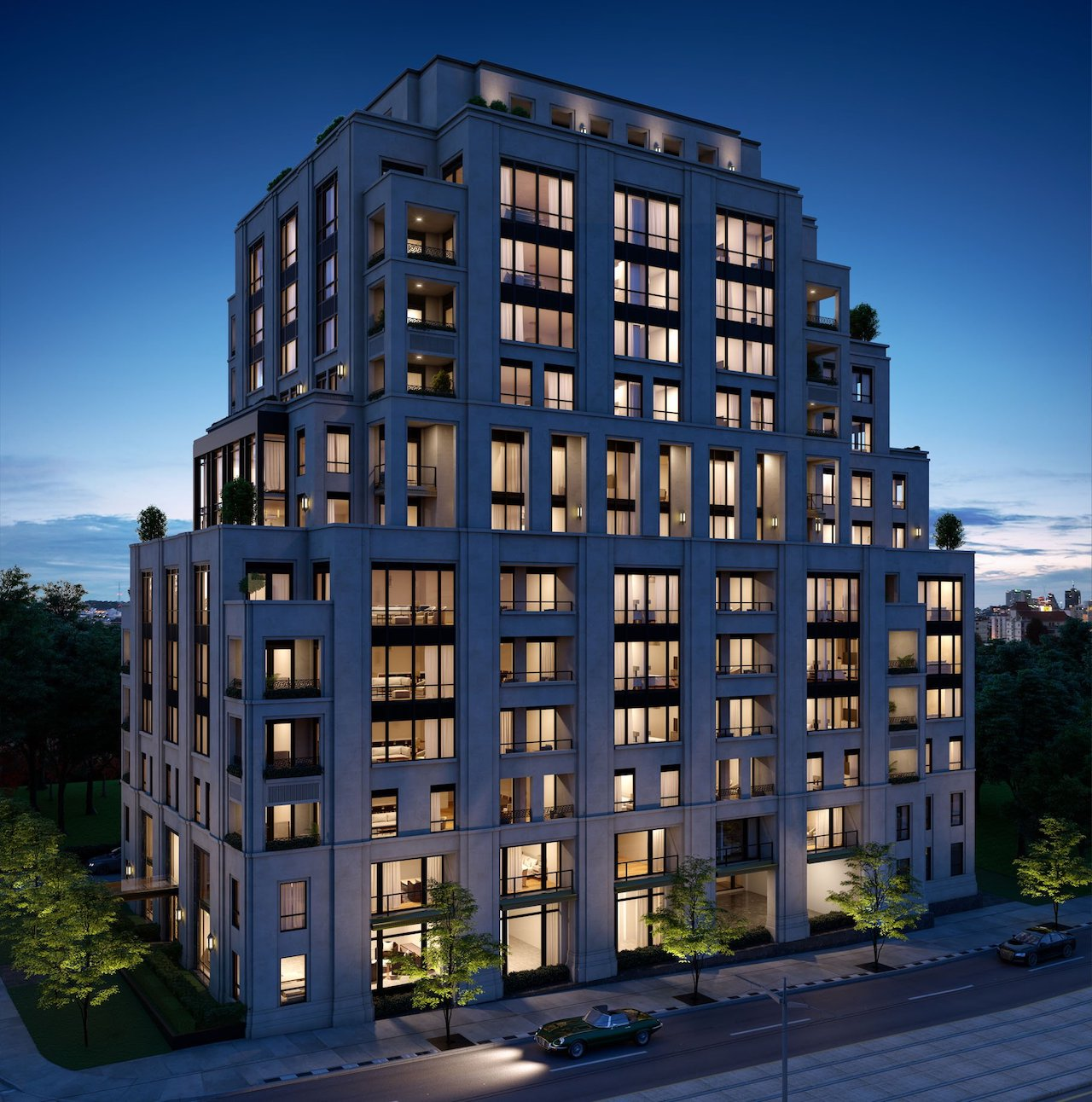 Exterior rendering of One Forest Hill Condos at night.