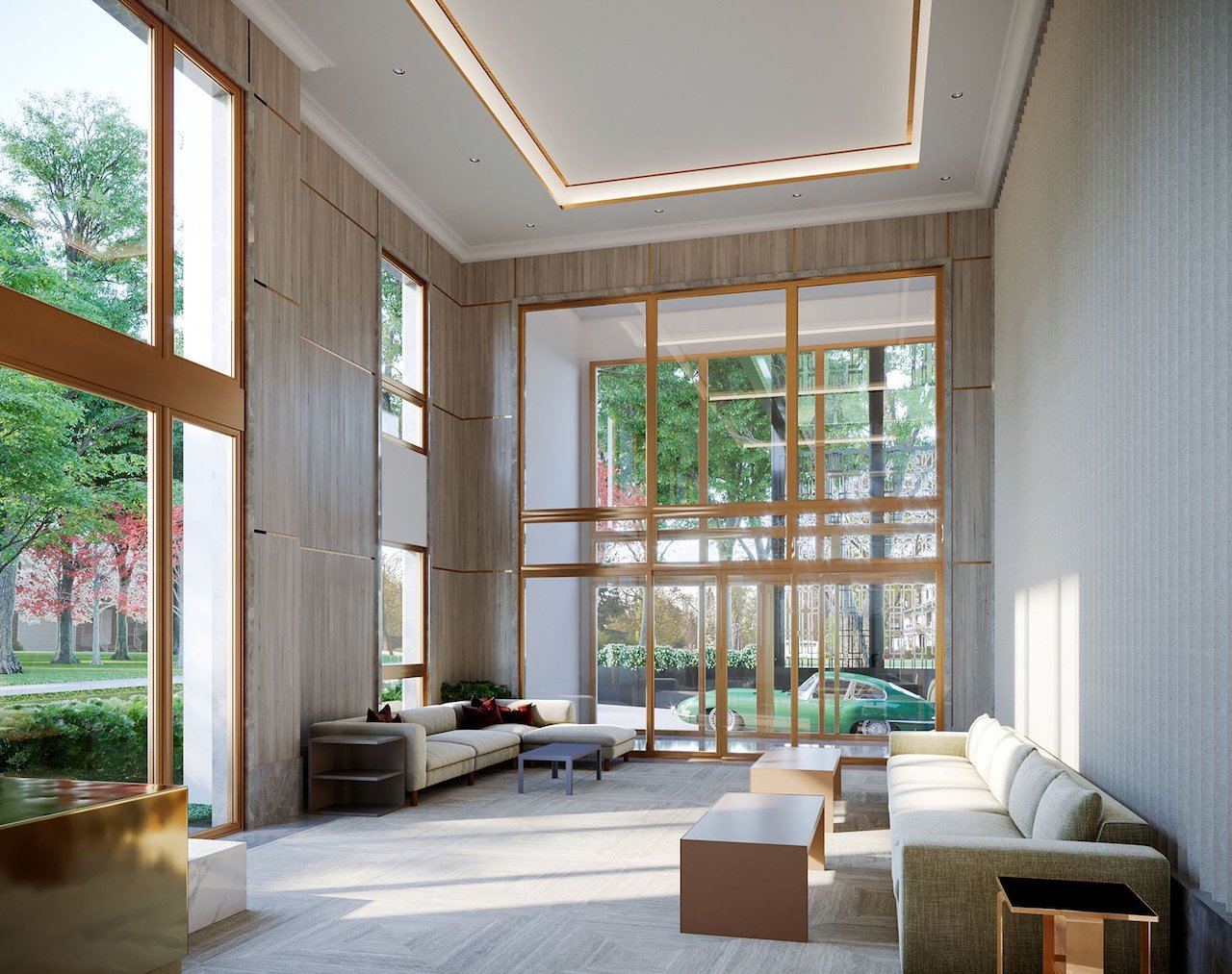 Lobby rendering of One Forest Hill Condos.