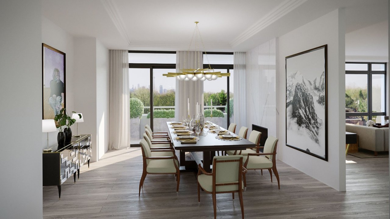 Dining room rendering of One Forest Hill Condos.