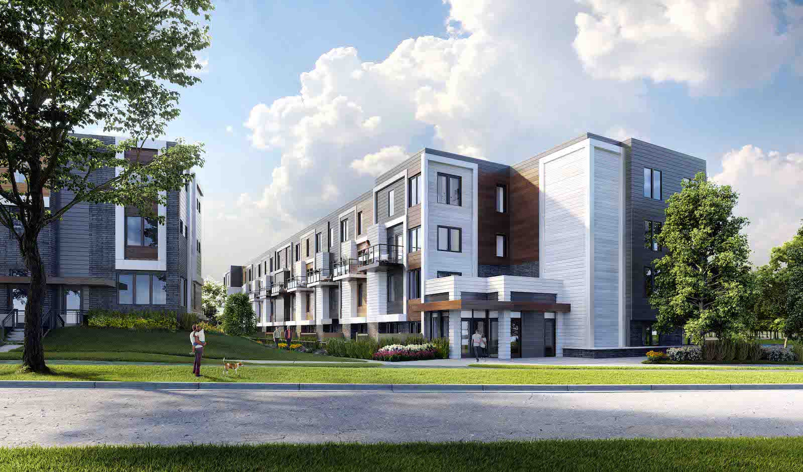 Exterior rendering of Parkside Towns at Saturday with roadside and walkway.