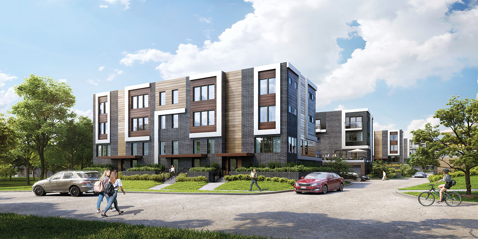 Exterior rendering of Parkside Towns at Saturday during the day.