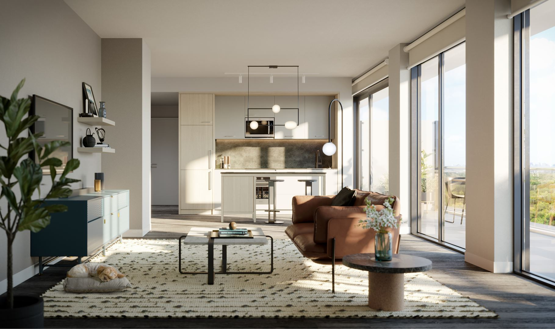 Interior rendering of The Tailor Queensway Residences.