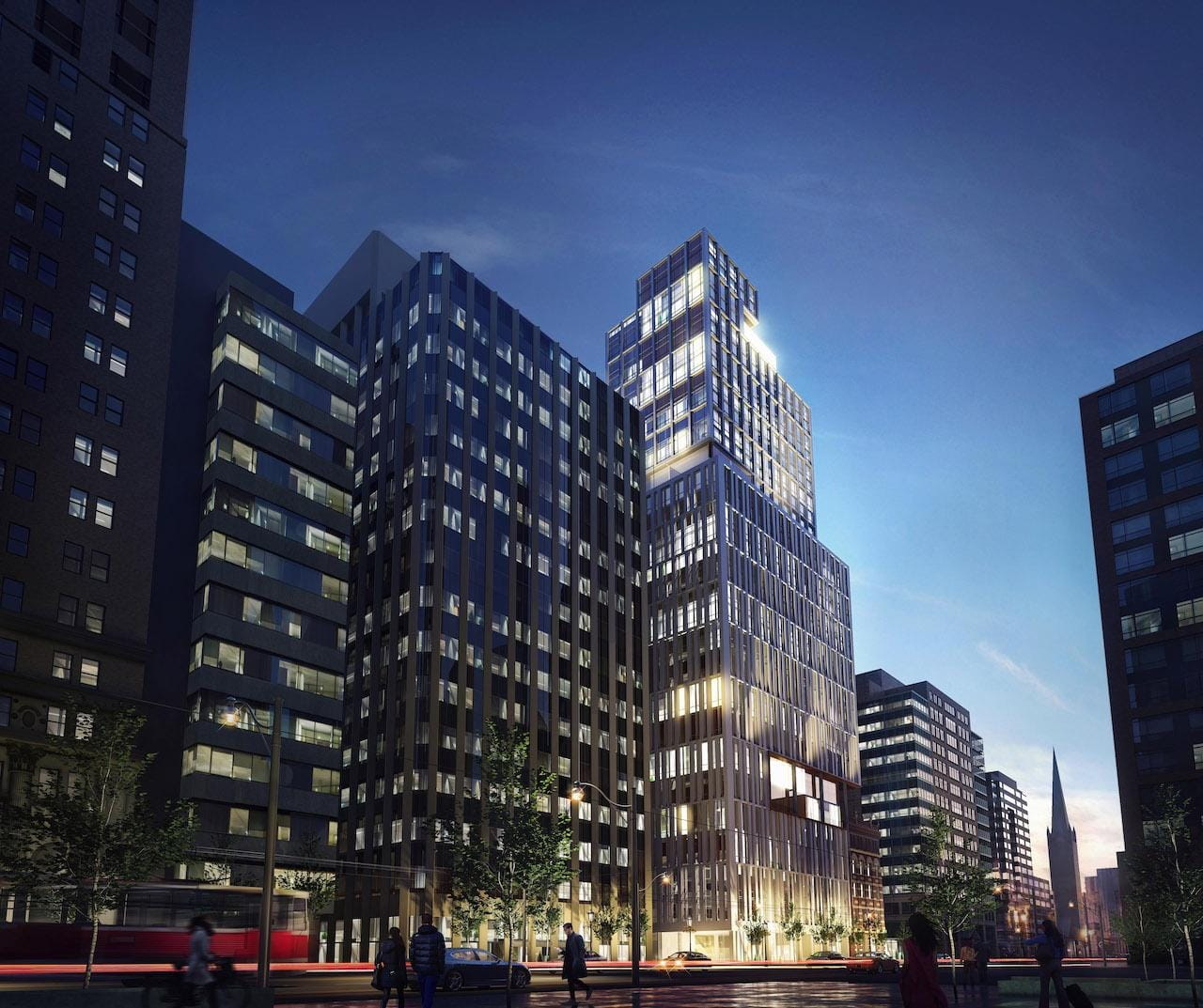 Full exterior rendering of 34 King Street East Condos and surrounding street area.