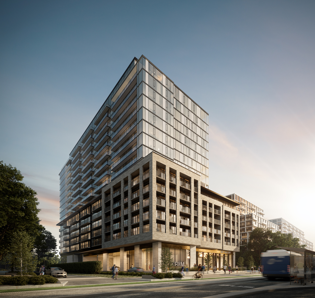 Rendering of ARTFORM Condos exterior corner with BRT.