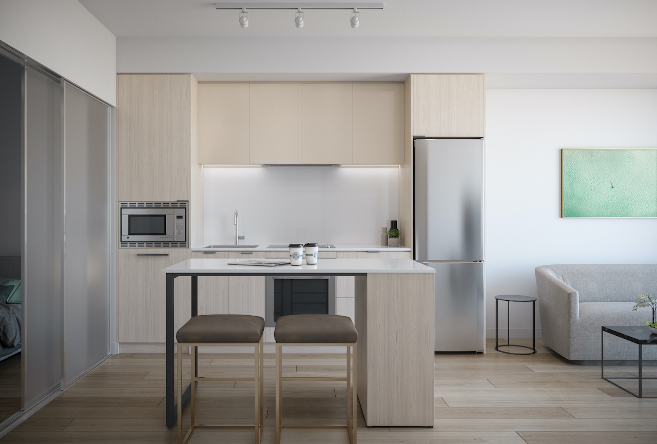 Rendering of ARTFORM Condos suite interior kitchen light.