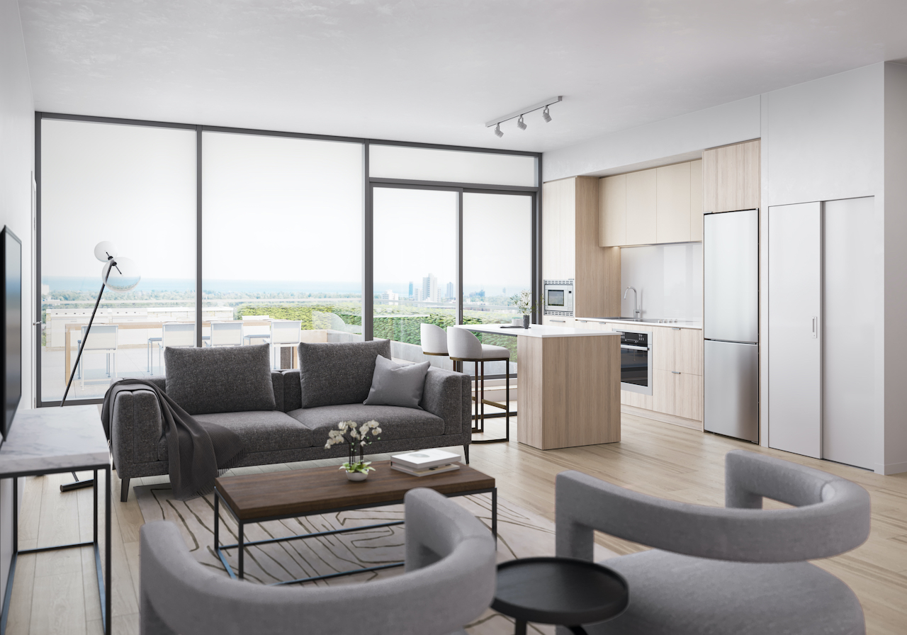 Rendering of ARTFORM Condos interior suite living.