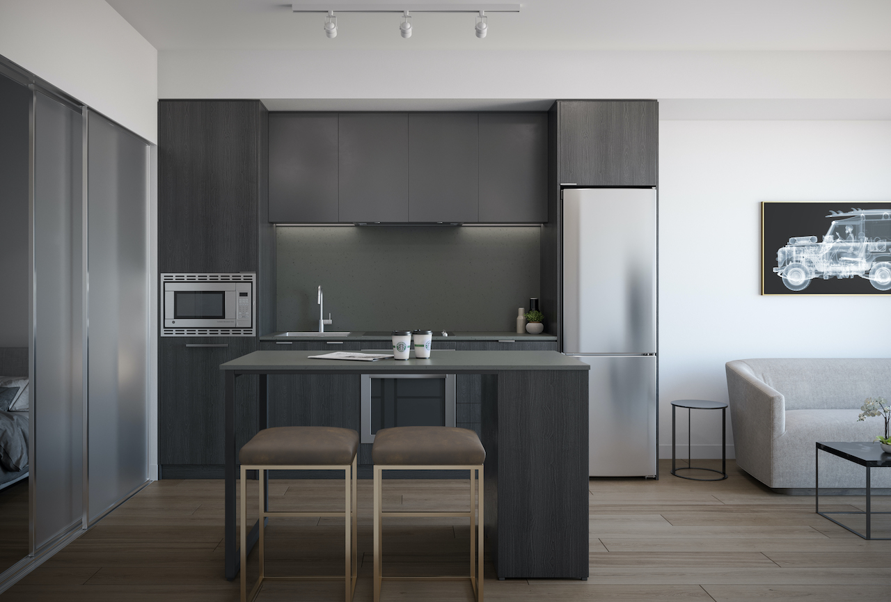 Rendering of ARTFORM Condos interior suite kitchen dark.