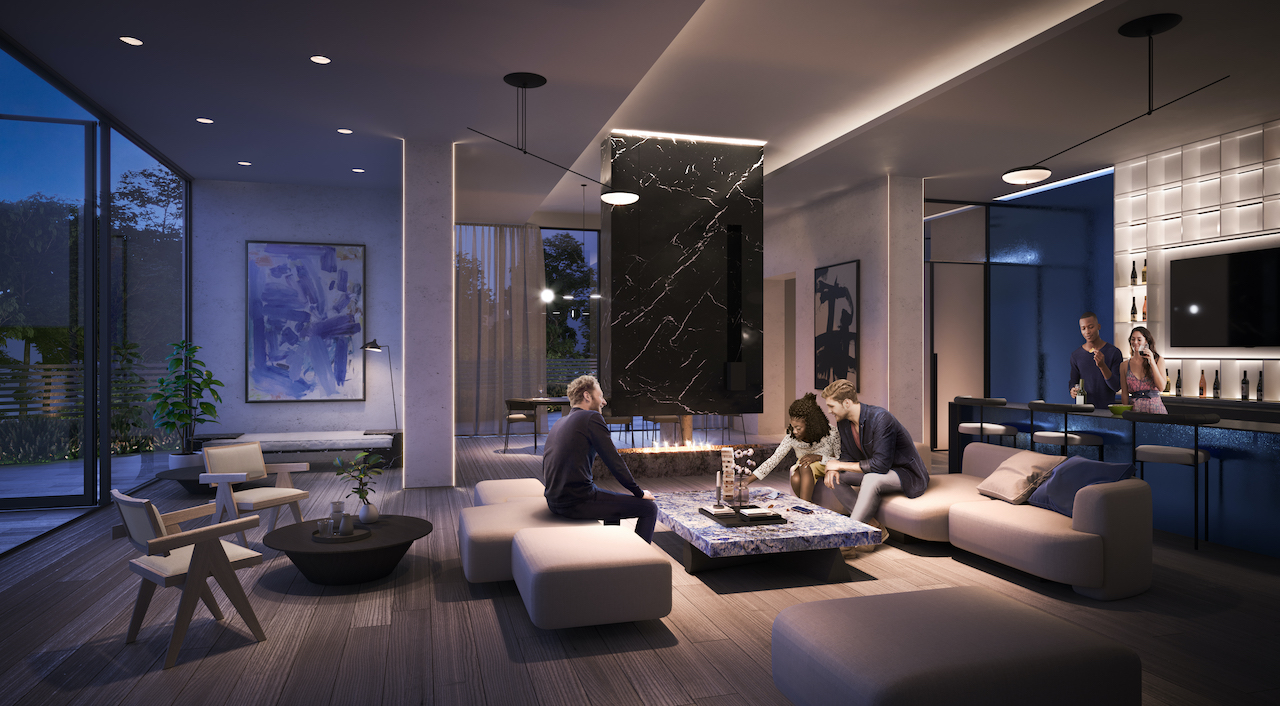 Rendering of ARTFORM Condos party room at night.