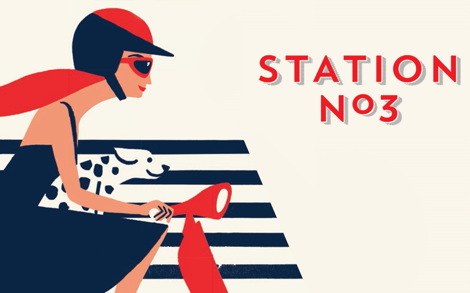 Illustration of a women and Dalmatian driving a vespa at Station No. 3 Condos and Townhomes in Whitby, ON.