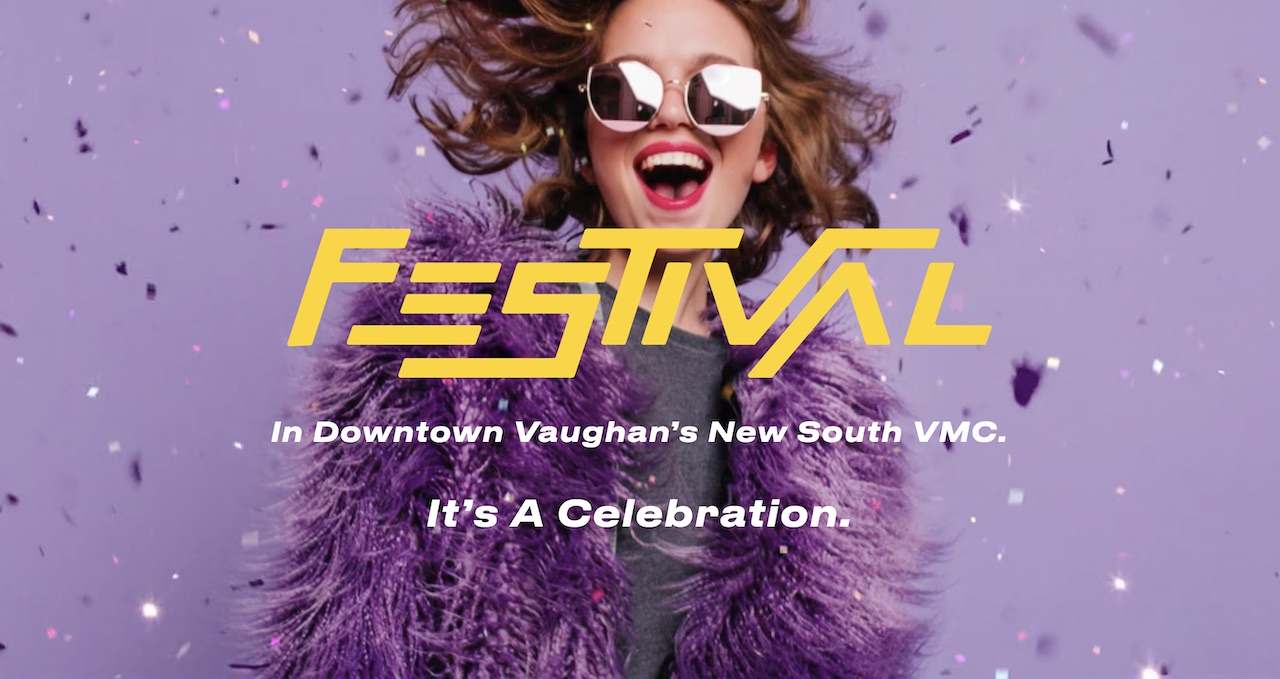 An excited woman in a purple faux-fur coat and purple sunglasses with Festival Condos and Towns logo overlay.
