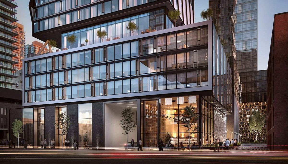 Exterior rendering of Carlyle Condos street facing facade in the evening.