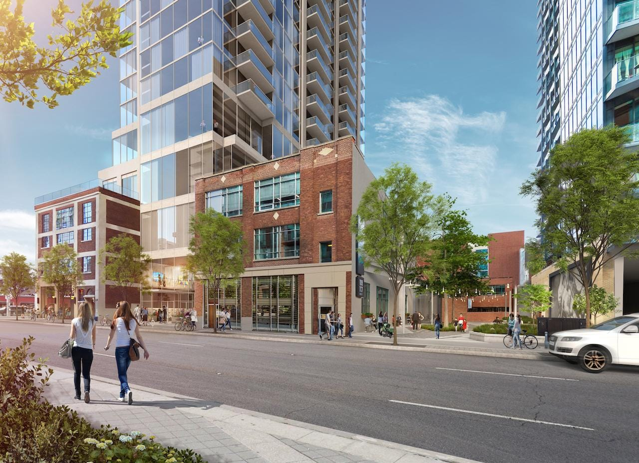 Rendering of 125 George Condos exterior at street-level and surrounding area.
