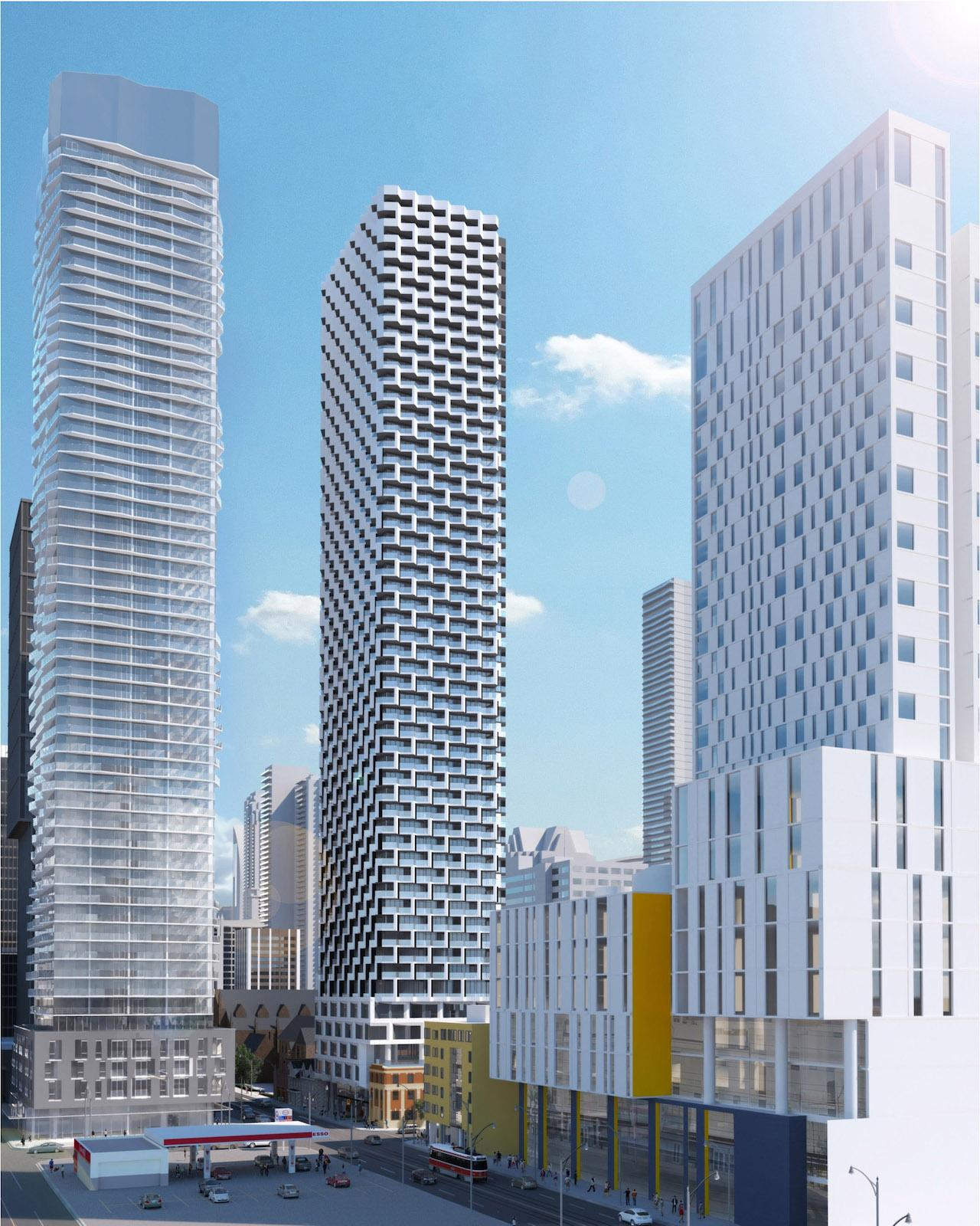 Rendering of 250 Church Condos and surrounding high-rise buildings in Toronto