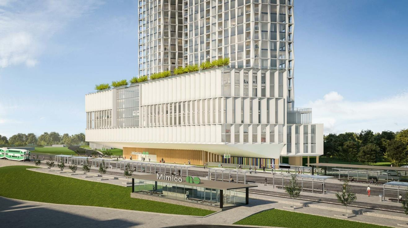 Rendering of 327 Royal York Condos with connection to Mimico train station in Etobicoke.
