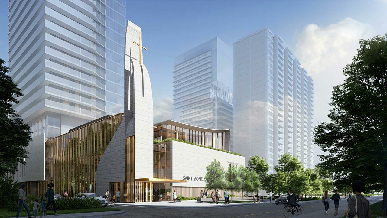 Exterior rendering of 44 Broadview Avenue Condos Saint Monica.