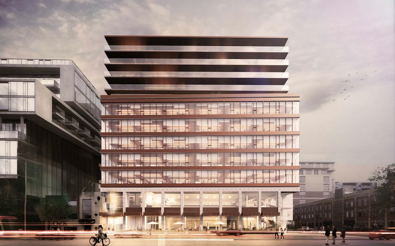 Rendering of 5445 King West Condos building front.