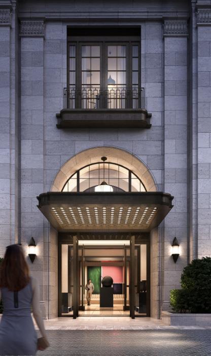 Rendering of Seventy Seven Clarendon building entrance.