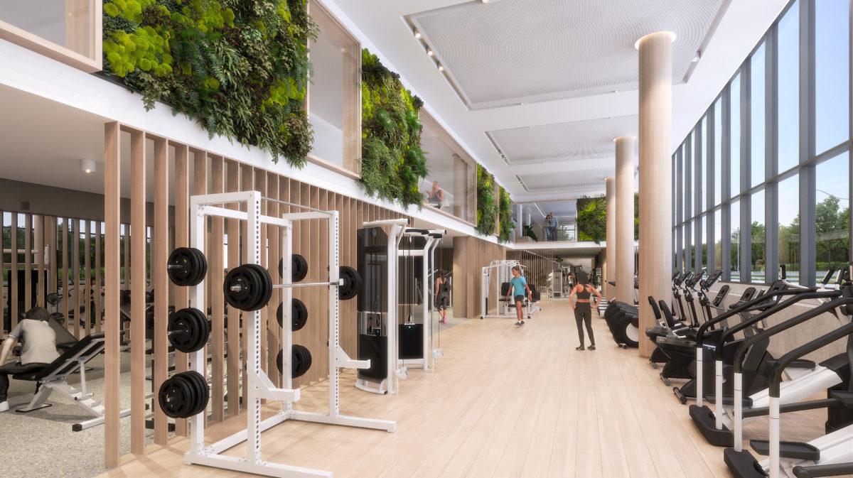 Rendering of Queen and Ashbridge Condos gym.