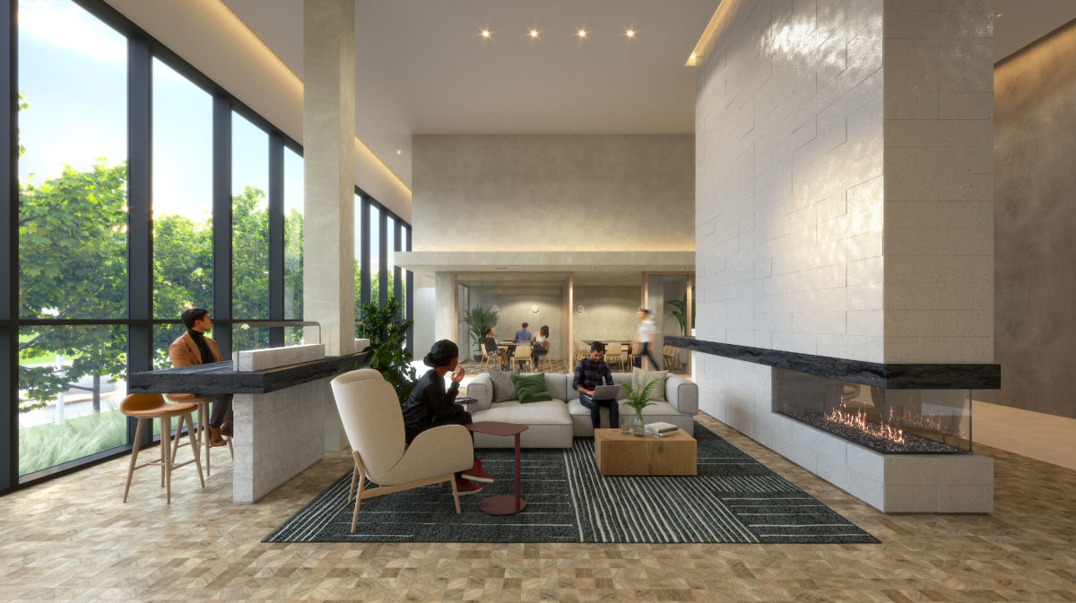Rendering of Queen and Ashbridge Condos lobby.