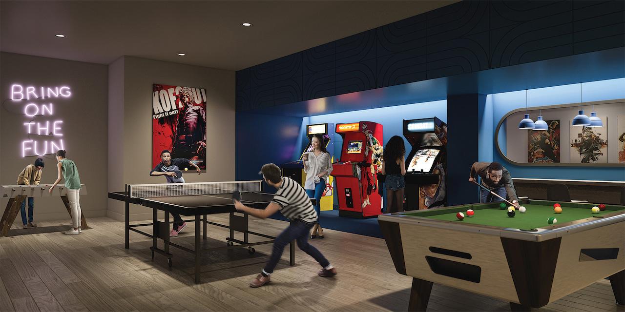 Rendering of Artsy Condos arcade.