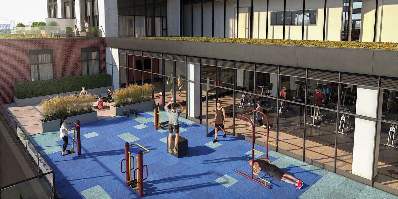 Rendering of Artsy Condos outdoor yoga and crossfit facility.