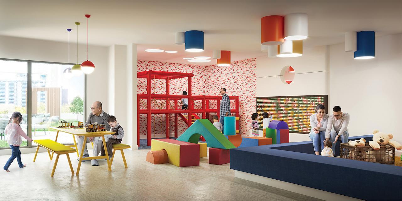 Rendering of Artsy Condos indoor kids zone play area.