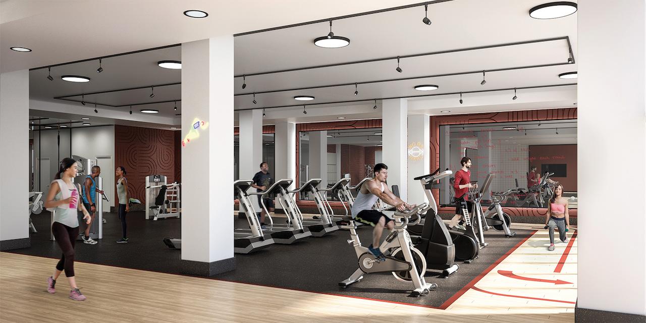 Rendering of Artsy Condos indoor mega gym.