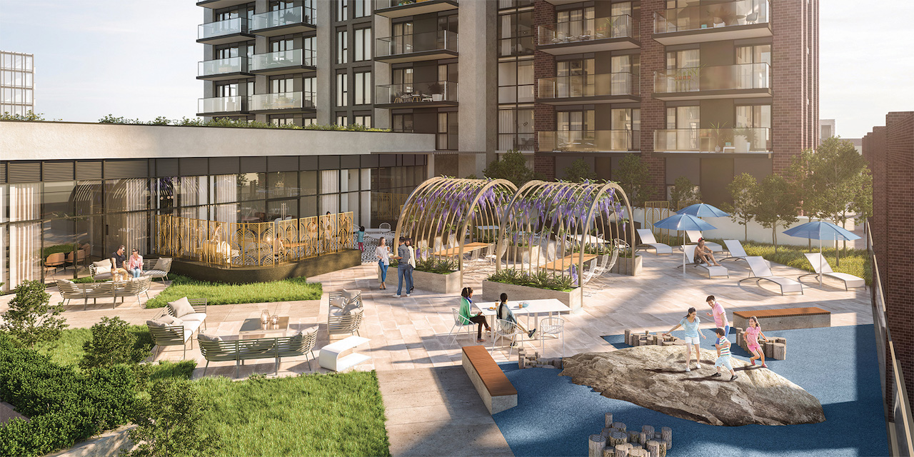Rendering of Artsy Condos outdoor terrace with water features.